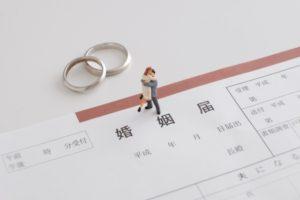 婚姻届と重ねて置かれた結婚指輪