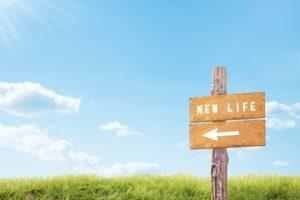 草原の中に立っている木でできた「NEW LIFE」と書かれた看板